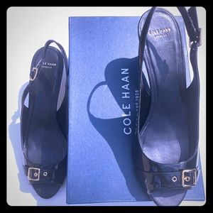 Cole Haan Heel Patent Leather Open-toe Slingback